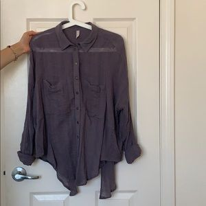 Free people purple open back button up top